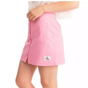 Calvin Klein Pink Button Front Jean Mini Skirt 24